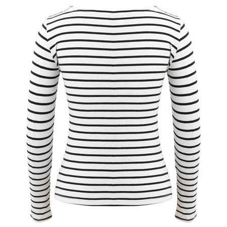 Women Striped T-Shirt Long Sleeves O Neck Vintage Casual Tees Tops Plus Size Pullover - image 5 of 7