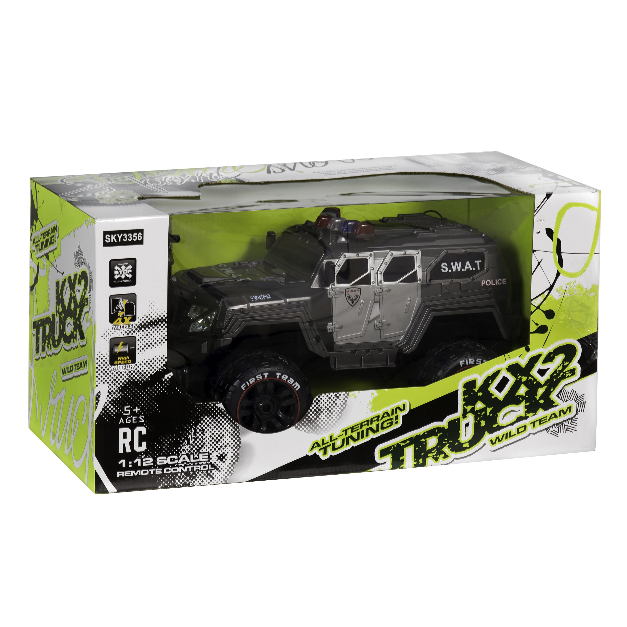 Best Choice Products 1/12 Scale 27Mhz Remote Control Police SWAT Truck RC  Car w/ 12 5MPH Max Speed, Rechargeable Battery, USB Charger - Gray