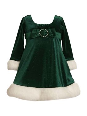 12e298d5d99 Product Image Little Girls 2T-6X Green White Buckle Bow Glitter Knit Santa  Dress