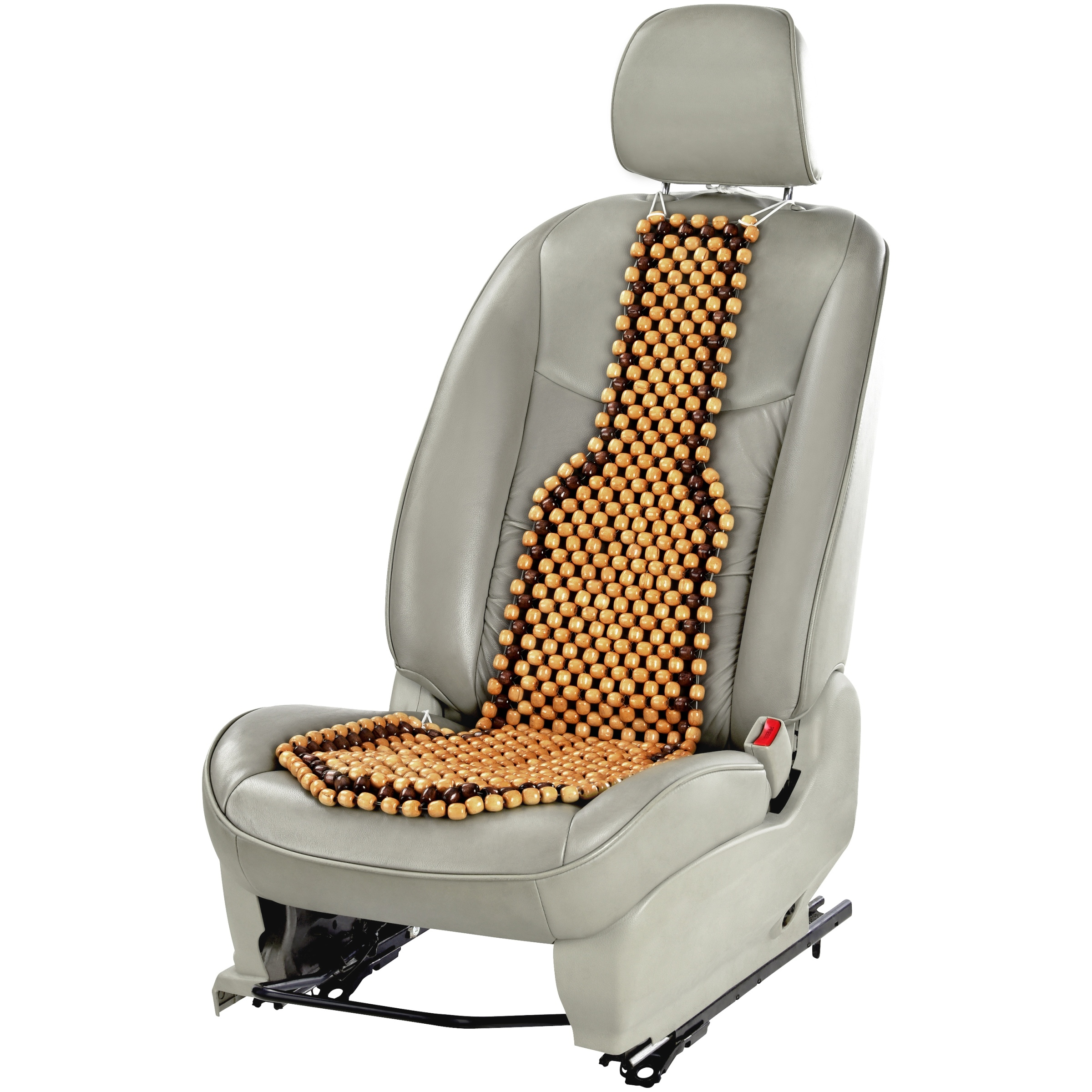 Auto Drive Two-Toned Dark & Light Wooden Beaded Seat Cushion