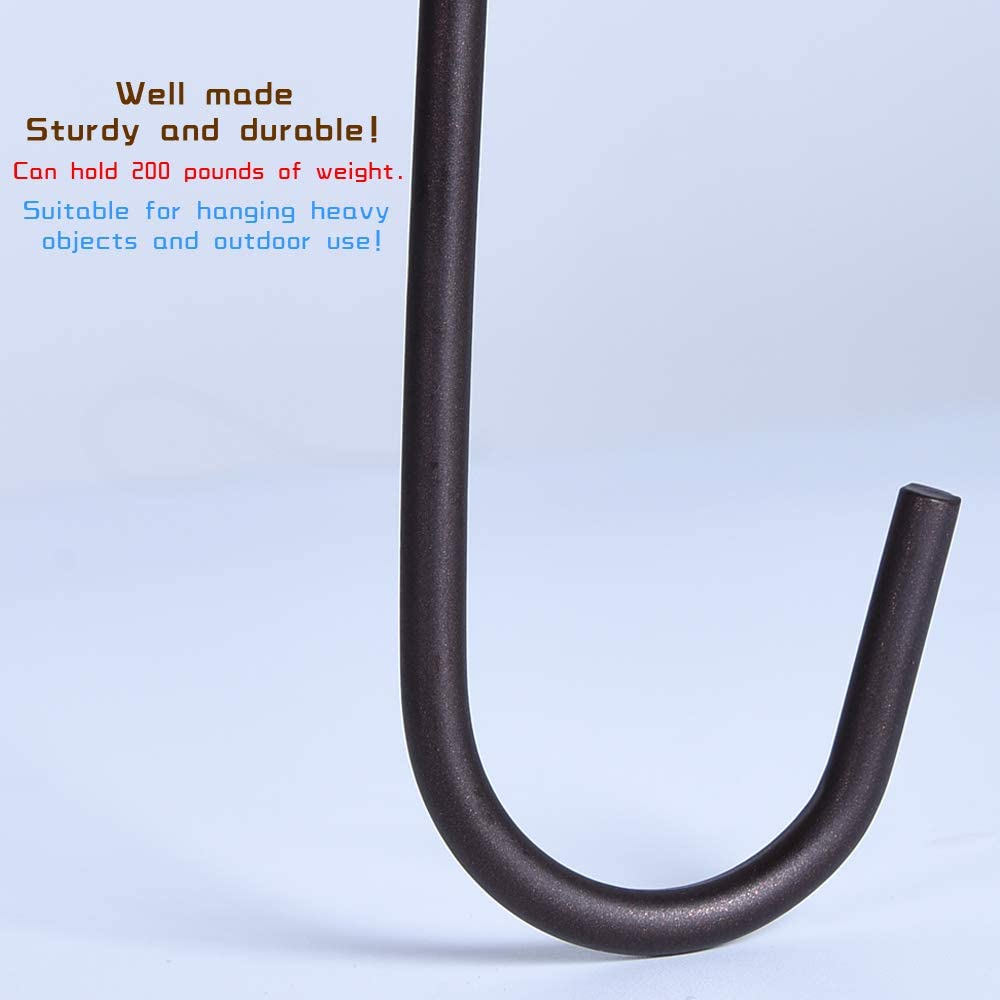 Strong metal Hooks Painted with Oil Rubbed Bronze 6 Pack Heavy Duty S Hooks,