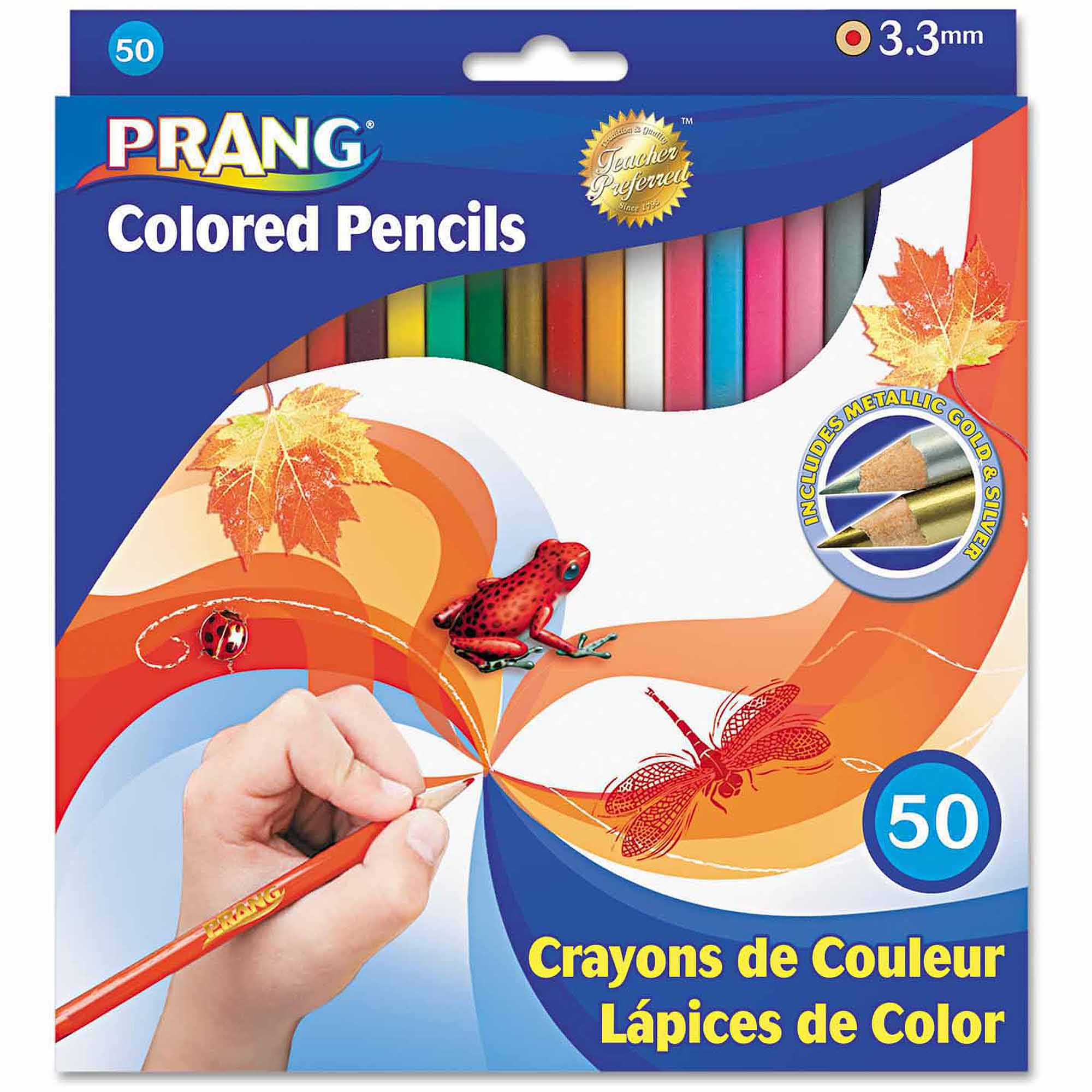 Prang Colored Woodcase Pencils, 3.3mm, 50 Assorted Colors/Set