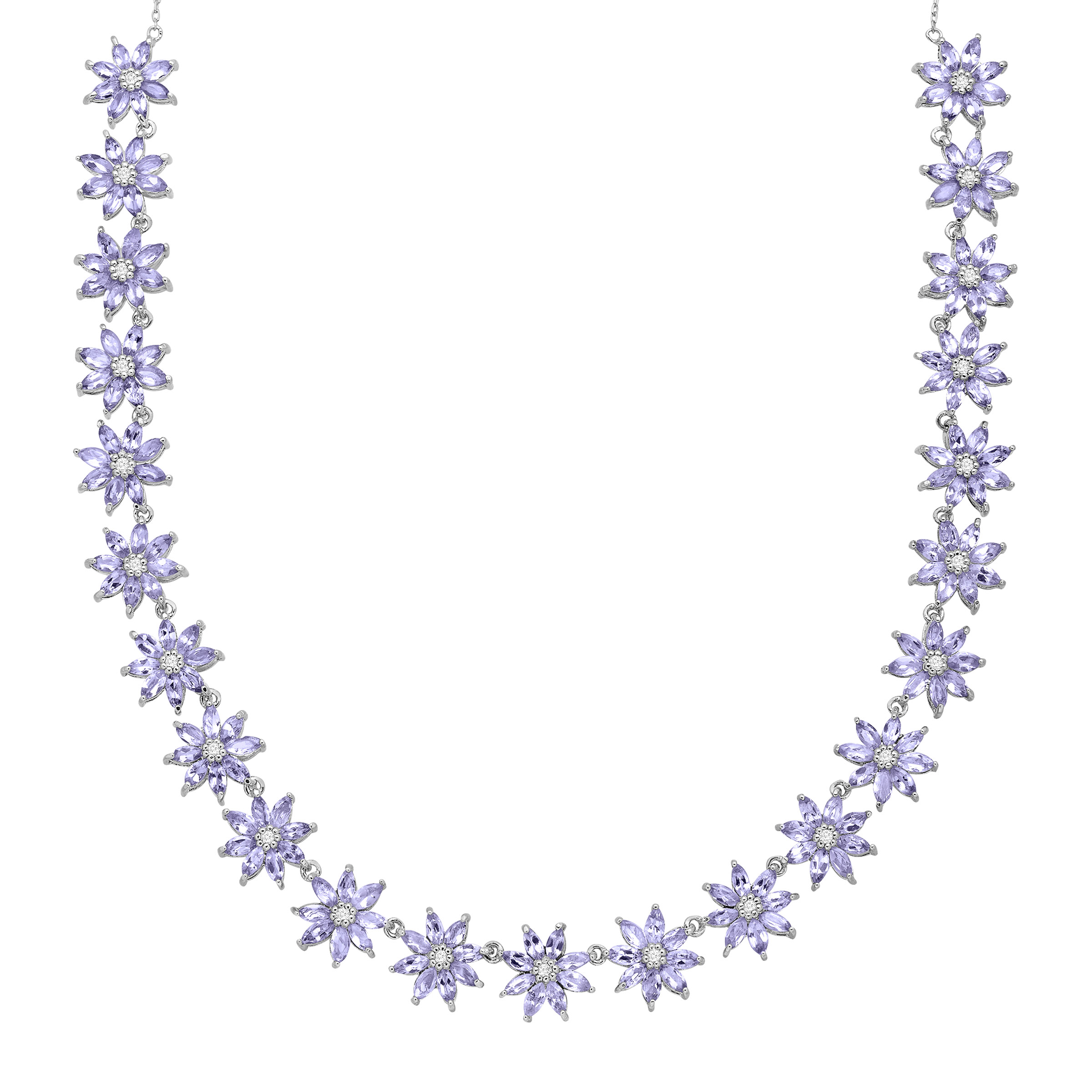 11 ct Natural Tanzanite & Natural White Topaz Floral Necklace in Sterling Silver by Richline Group