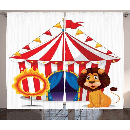 Circus Decor Curtains 2 Panels Set, Lion And A Fire Ring In Front Of The Circus Tent Lightbulbs Flame Adventure, Living Room Bedroom Accessories, By
