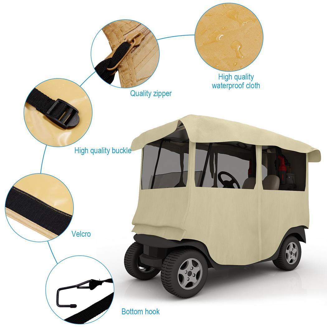 210D Polyester 4 Passenger Deluxe 4-Sided Golf Cart Enclo...