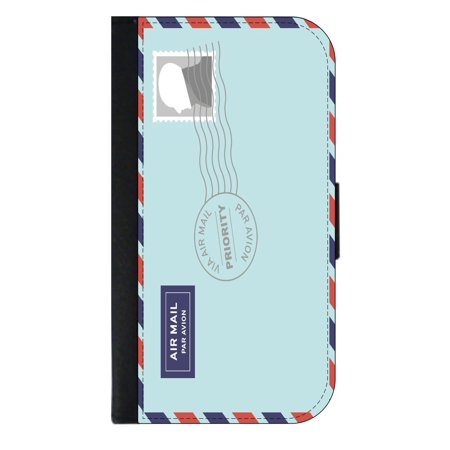 Overseas Stamped Airmail Envelope Wallet Style Cell Phone Case with 2 Card Slots and a Flip Cover Compatible with the Standard Apple iPhone X - iPhone 10 Universal