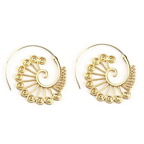 Sexy Sparkles Vintage Bohemian Spiral Peacock Feather Earring Circles Round Tribal Hoop Earrings