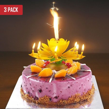 3 Pack Birthday Cake Flower Candles With Happy Music Rotating Setup