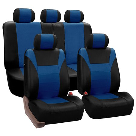 FH Group Blue and Black Racing Faux Leather Airbag Compatible and Split Bench Car Seat Covers, Full