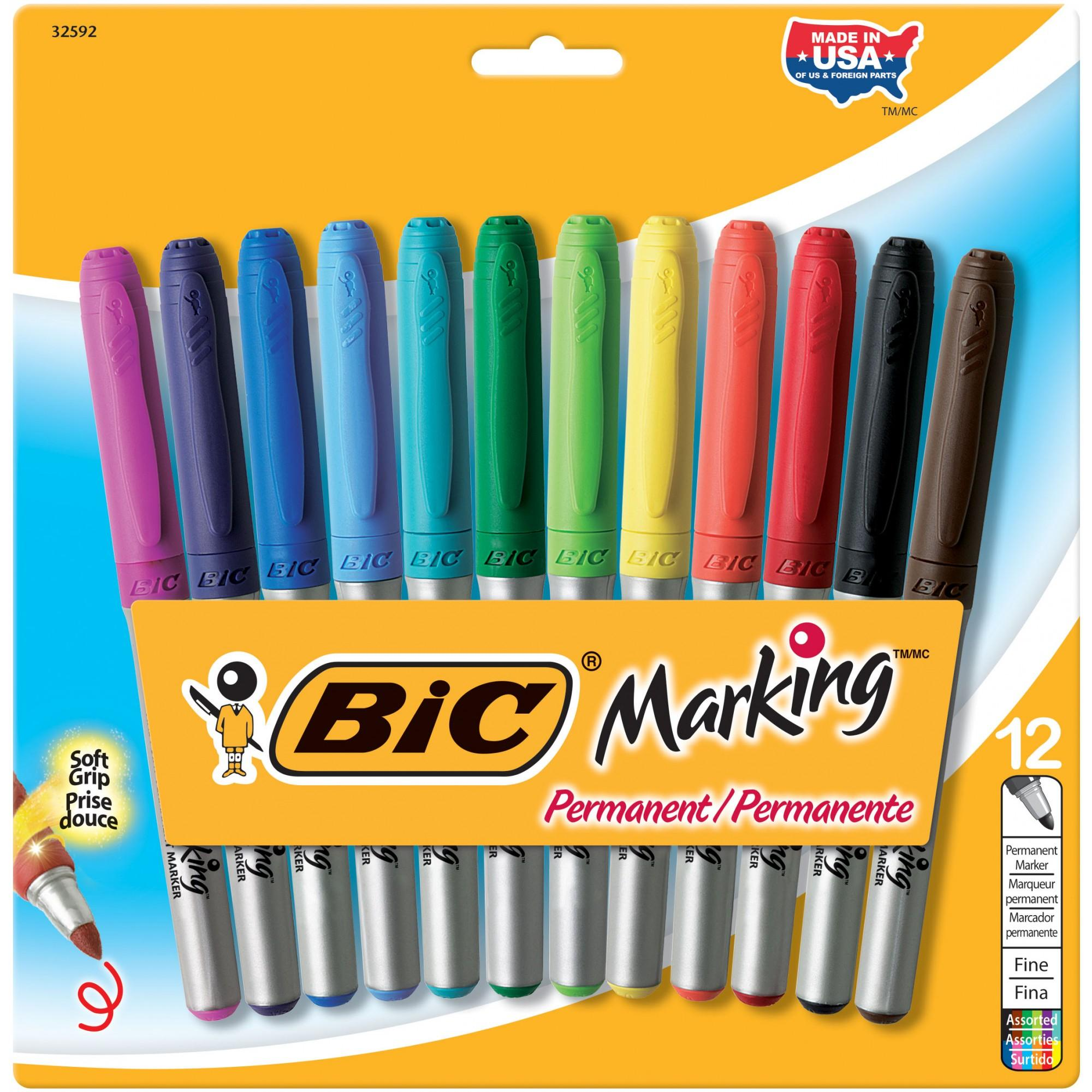 BIC Marking Permanent Markers, Fashion Colors, Fine Point, 12-Count