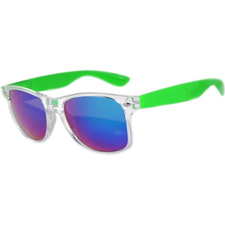 One Pair Retro Crystal 80's Vintage Party Sunglasses Green Frame Blue Mirror Lens (Crystal Green Lens)