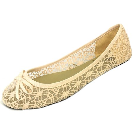Womens Canvas Crochet Slip on Shoes Flats 5 Colors 5060 Nude