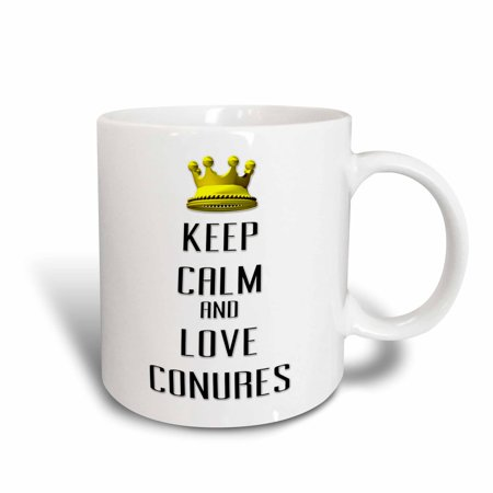 3dRose  Gold Crown Keep Calm And Love Conures, Ceramic Mug, 11-ounce