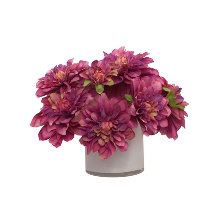 1025 Purple Red Dahlia Artificial Silk Floral Arrangement In White