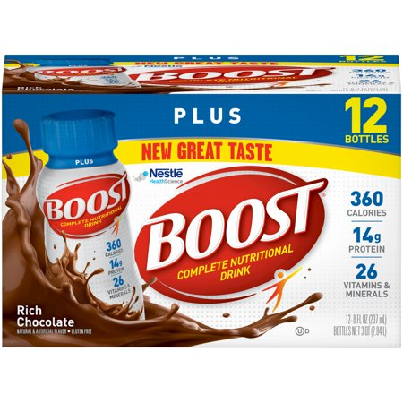 Boost Plus Complete Nutritional Drink, Rich Chocolate, 8 fl oz Bottle, 12 Count