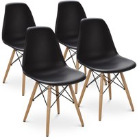 Gymax Set Of 4 Dining Chairs Mid Century Modern Style Solid Wood Leg Black