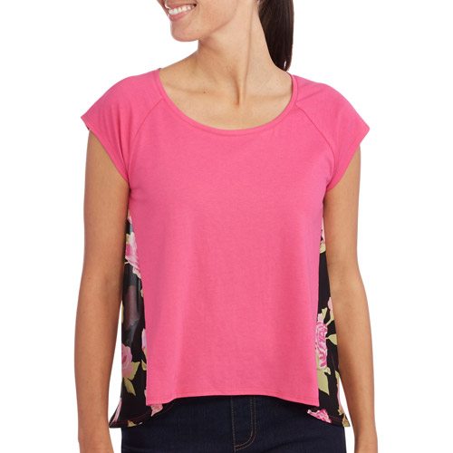 Concepts Women's Chiffon Jersey Mixed High-Low Top