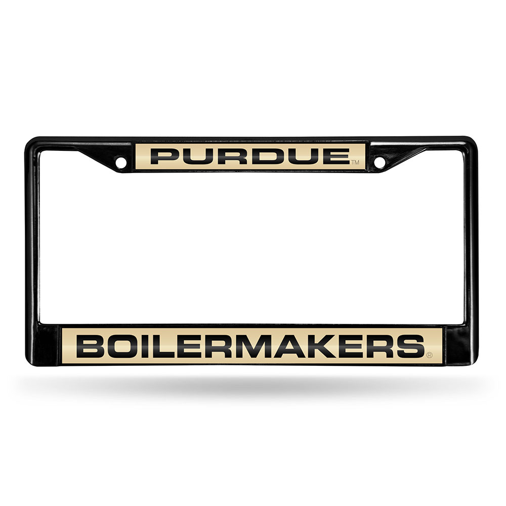 Purdue Boilermakers NCAA Black Chrome Laser Cut License Plate Frame