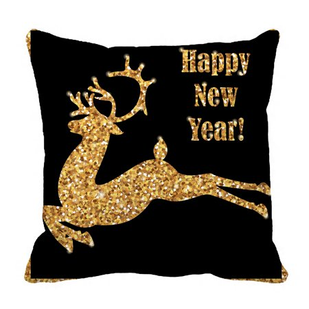 YKCG Christmas Silhouette of the Deer Golden Reindeer Pillowcase Pillow Cushion Case Cover Twin Sides 18x18 inches ()