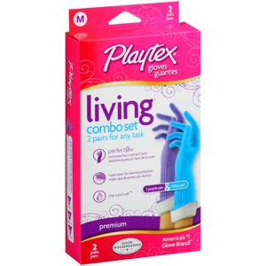 Playtex Living Reusable Gloves With Drip-Catch Cuff Medium, 2 Pair