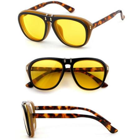 Cool Flip Up Lens Steampunk Vintage Retro Large Round Sunglasses Tortoise (Jay Z Shades)