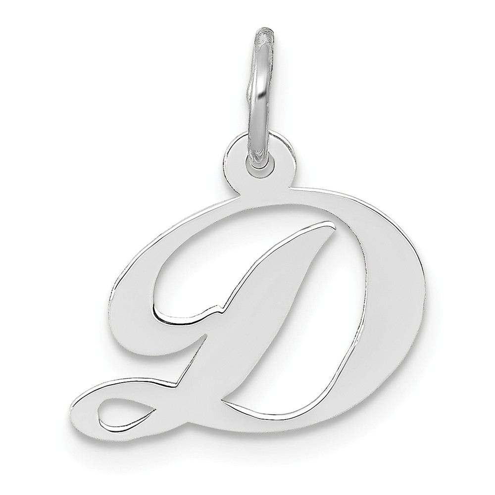 14k White Gold Small Fancy Script Initial D Charm Pendant