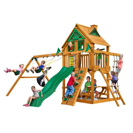 Gorilla Playsets Chateau Treehouse Wooden Swing Set with Rope Ladder, Rock Climbing Wall, and 2 Belt Swings (Rock Climbing Rope Bags)