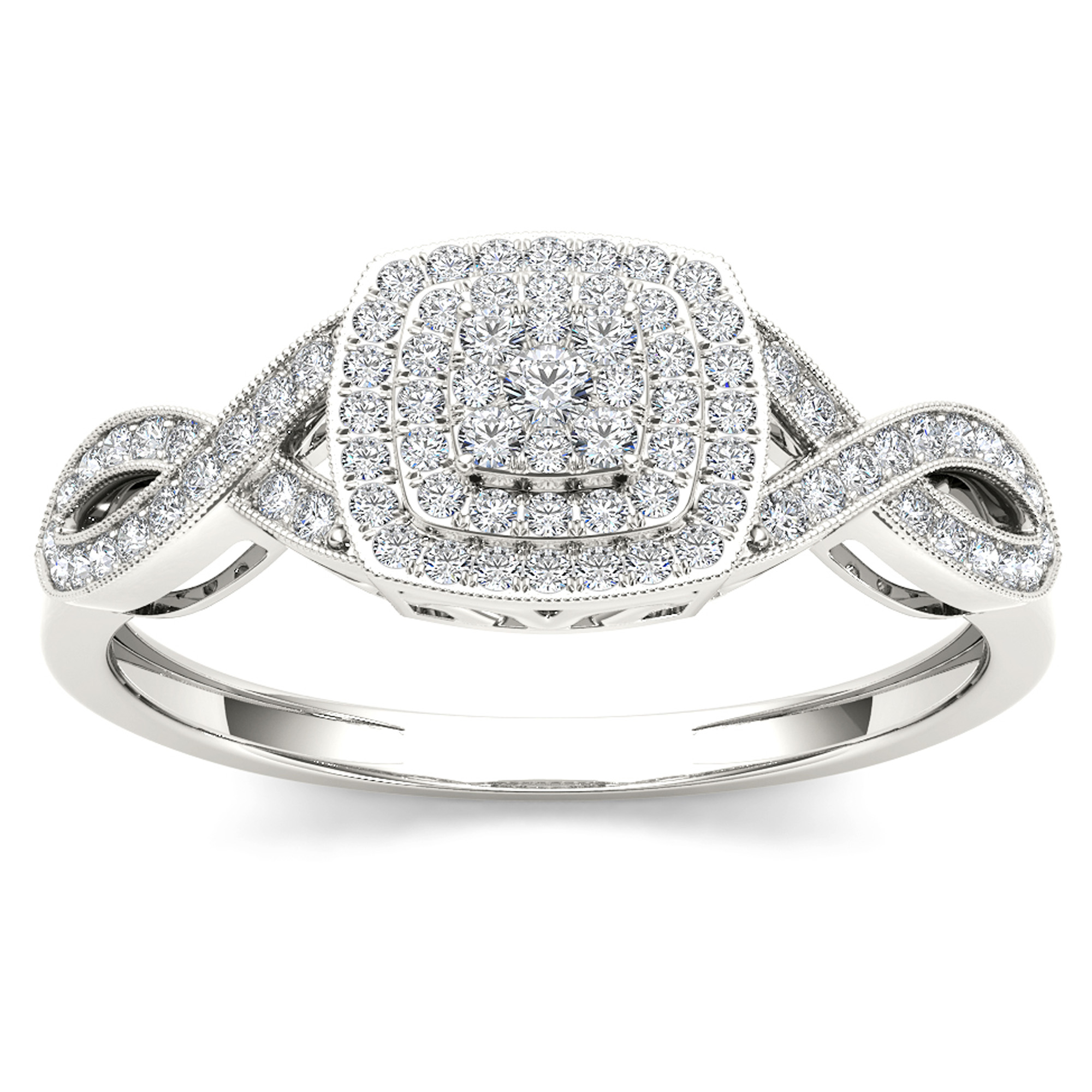 Imperial 1 4Ct TDW Diamond 10K White Gold Criss-Cross Engagement Ring by DE COUER NEW YORK LLC