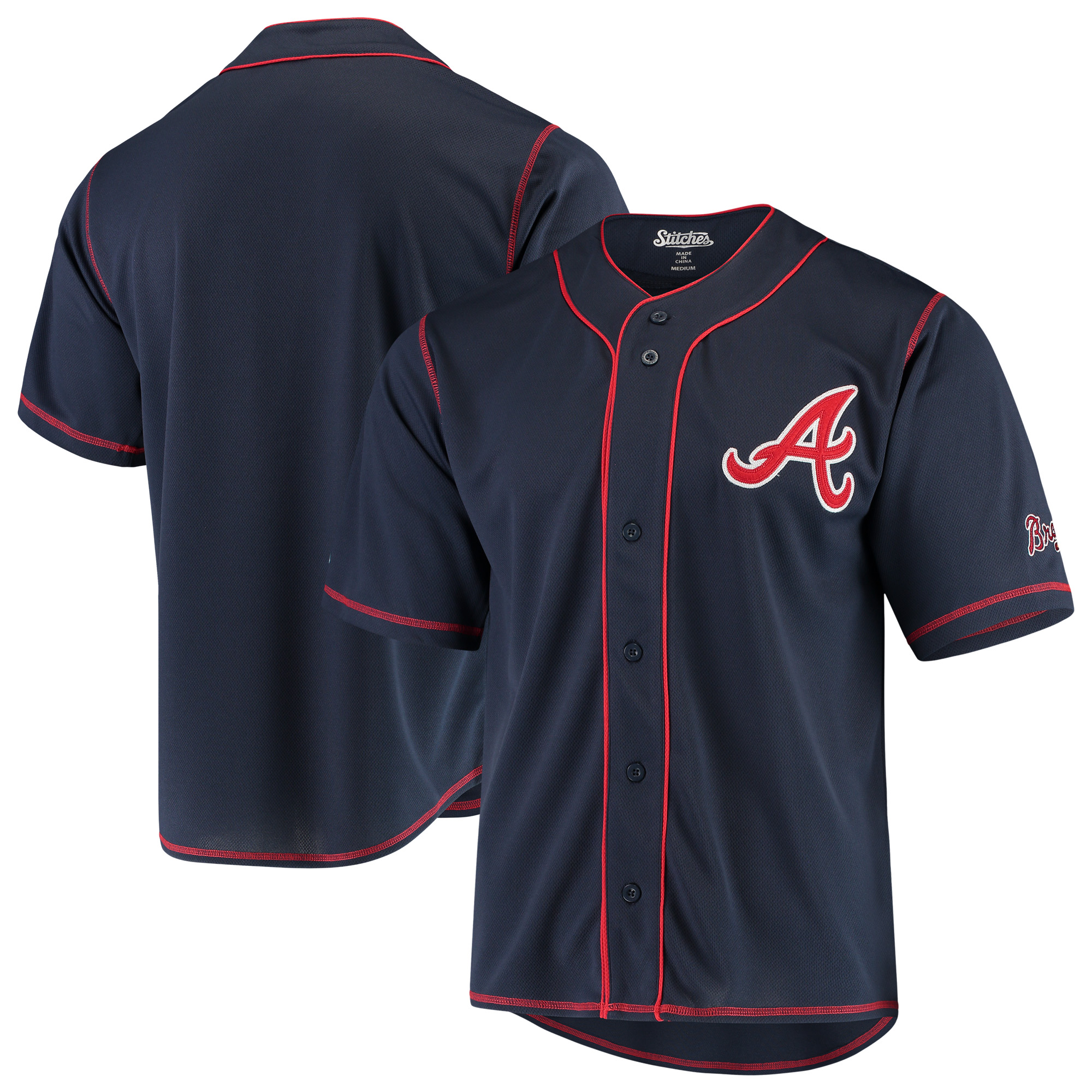 Atlanta Braves Stitches Team Color Button-Down Jersey - Navy/Red