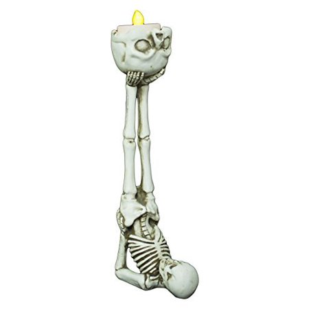 9 Inch Shoulder Stand Skeleton Tea Light Candle Holder, A unique candle holder to add to your Halloween decor By Ganz - Partylite Halloween Tealights