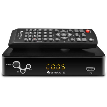 Ematic AT103B Digital Converter Box with LED Display and Recording Capabilities (Refurbished)