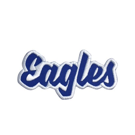 Mascot Patch (Eagles - Royal Blue/White - Team Mascot - Words/Names - Iron on Applique/Embroidered Patch )