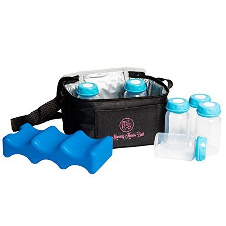 Mommy Knows Beast Breast Milk Cooler Bag Set For Nursing Mothers - Includes Baby Bottle Cooler Tote, (6) 5 oz Breast Milk Bottles, (6) Solid Lids, & Contoured Ice Pack for Insulated Storage - (Best Breast Milk Enhancer)