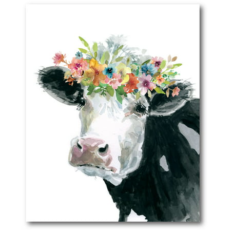 Cow Decor - Courtside Market Flower Crown Cow Gallery-Wrapped Canvas Wall Art, 16x16
