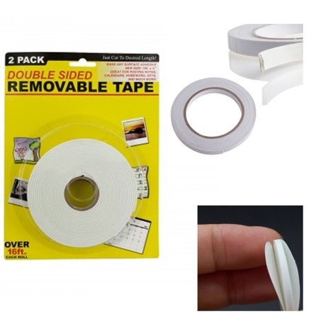 - 2 Pc Double Sided Foam Tape White Roll Adhesive 3/4