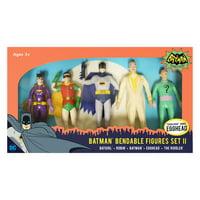 NJ Croce DC Comics - Batman Classic TV Series Bendable Figures Set II: Batgirl, Robin, Batman, Egghead, The Riddler