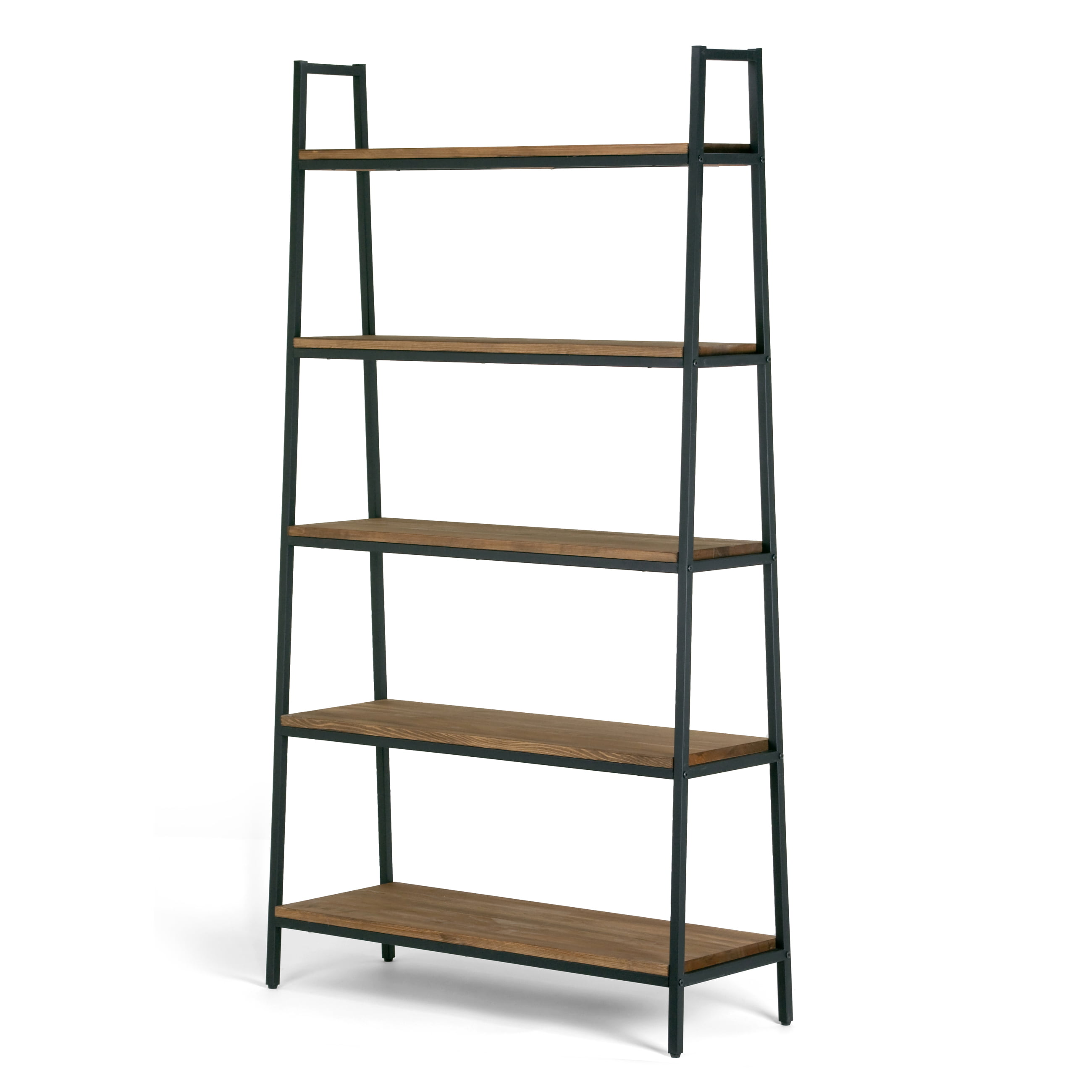 Ailis 71 5 Brown Pine Wood Metal Frame Etagere Bookcase Five Shelf Media Tower Walmart Com