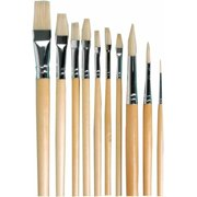 School Specialty Long Handle Oil Paint Brush Set, Assorted Sizes, Set of 10