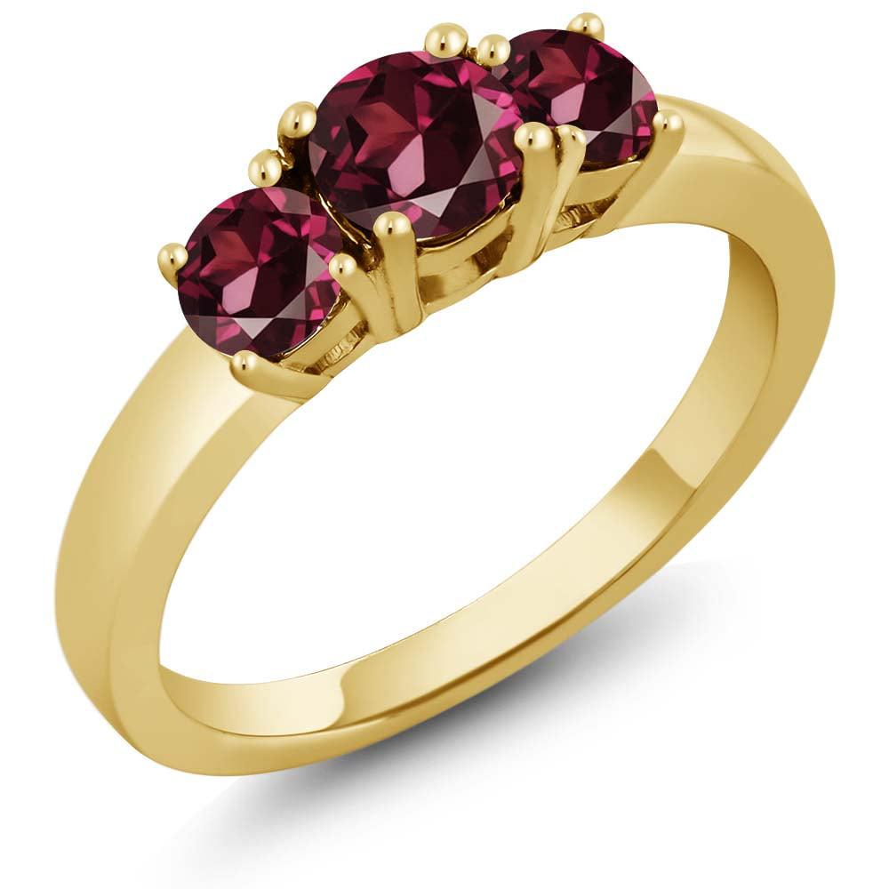 1.38 Ct Round Red Rhodolite Garnet 18K Yellow Gold Ring