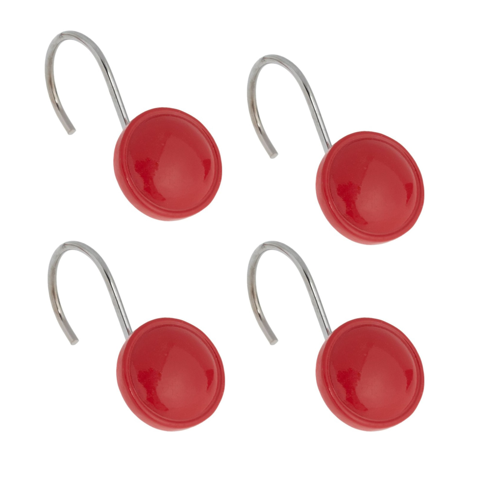 bed bath n more Hand Crafted Round Red Shower Curtain Hook Set (Pack of 12)
