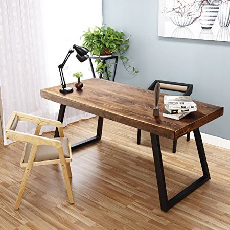 Tribesigns 55 Solid Wood Computer Desk Simple Retro Style Office Workstation Espresso