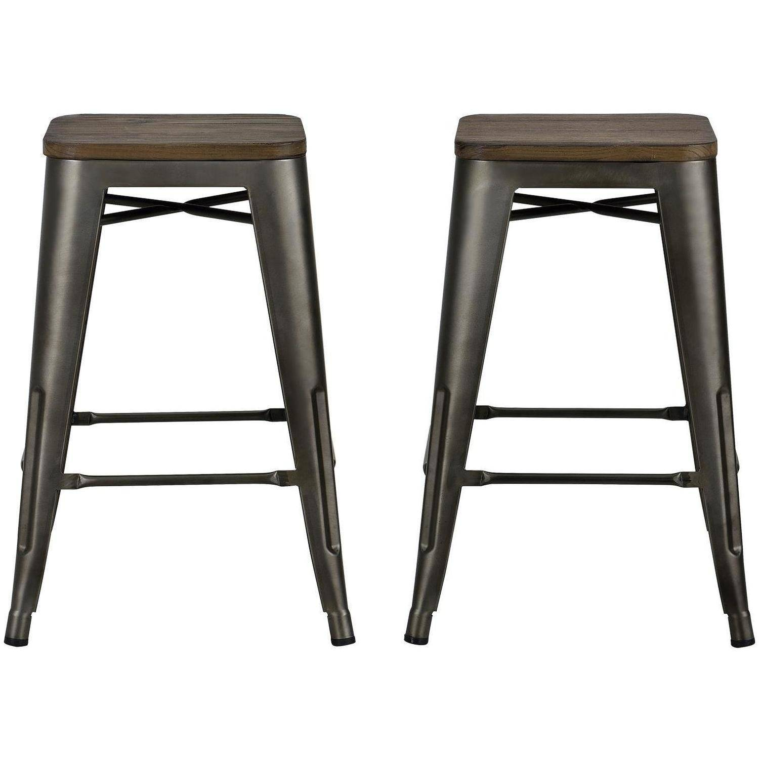 Dhp Fusion 24 Metal Backless Counter Stool With Wood Seat Set Of 2