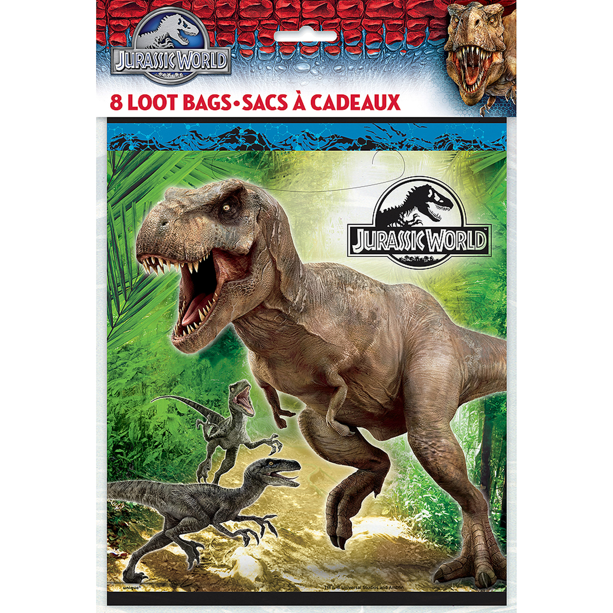 Jurassic World Favor Bags, 8-Count