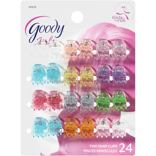 Goody Girls Tiny Snap Clips, Assorted Colors, 24 count