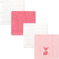 Luvable Friends Baby Boy and Girl Woven Terry Washcloths, 4-Pack - Pink Foxy