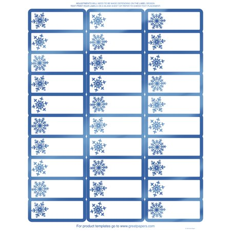 great papers blue foil snowflake 30 up address label 8 5. Black Bedroom Furniture Sets. Home Design Ideas