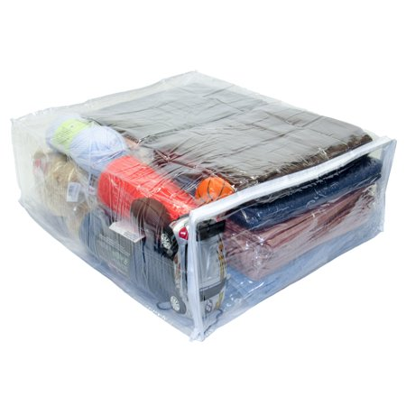 Jumbo Heavy Duty Vinyl Zippered Storage Bags Clear For