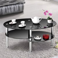 Product Image Costway Tempered Gl Oval Side Coffee Table Shelf Chrome Base Living Room Black