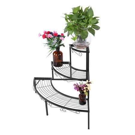Plant Rack, Flower Pot Stand,YMIKO 3-Tier Black Color Plant Stand Corner Shelf Metal Flower Pot Storage Rack Garden Display Holder ()