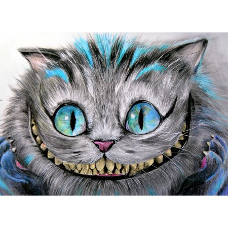 Cheshire Cat by Manuela Lai Alice in Wonderland Tattoo Design Art Poster Print